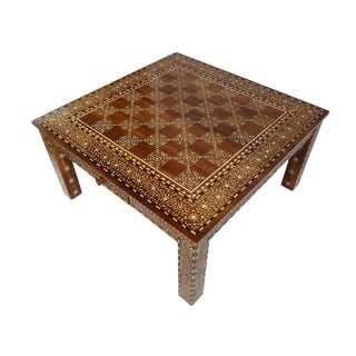 Inlay Checker Board Coffee Table For Sale