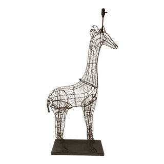 Large Modern Giraffe Wire Sculptural Floor Lamp For Sale