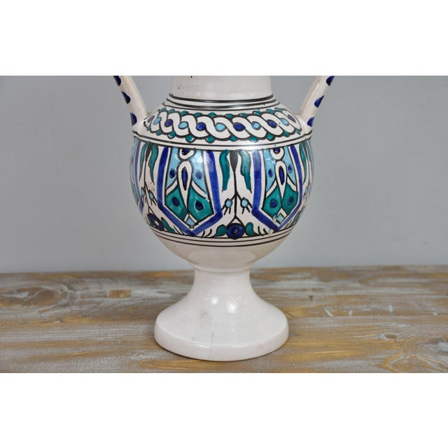 Handpainted Vintage Italian Blue and White Decorative Vase For Sale In New York - Image 6 of 13