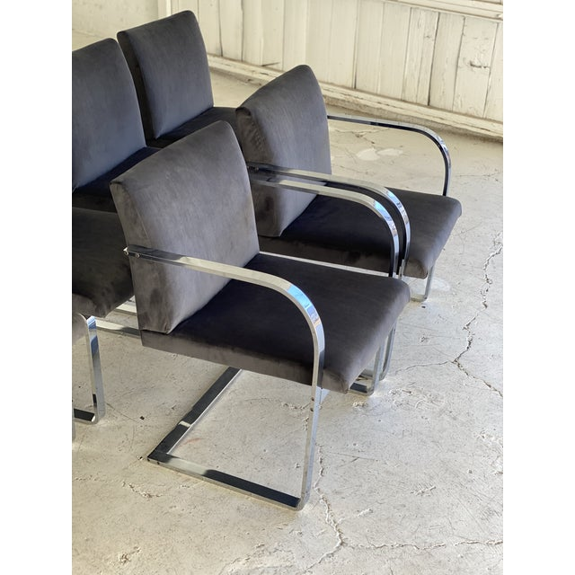 1970s Mid-Century Modern Charcoal Velvet and Chrome Cantilever Chairs - Set of 6 For Sale - Image 5 of 9