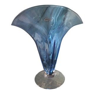 Vintage Blue Crystal Vase For Sale