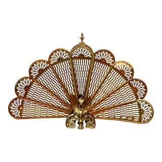 Vintage 1960s Hollywood Regency Mid Century Modern Brass Peacock Fan Fireplace Screen W/Gargole/Griffin Figure For Sale