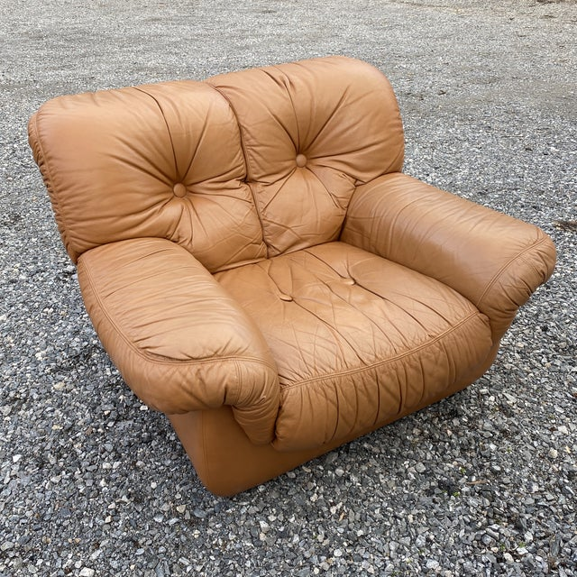 Oversized Italian Leather Club Chairs - a Pair For Sale - Image 12 of 13