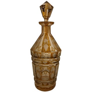 20th Century Edwardian Citrine Yellow Intaglio Cut to Clear Decanter For Sale