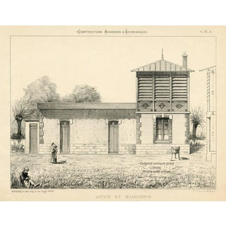 1870s French Architecture Print For Sale