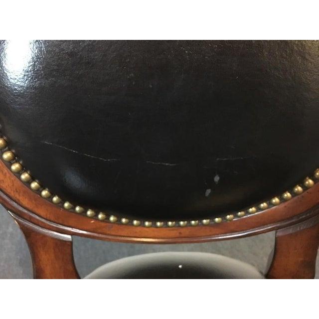 Mahogany & Black Leather Swivel Bar Stools - A Pair - Image 9 of 11