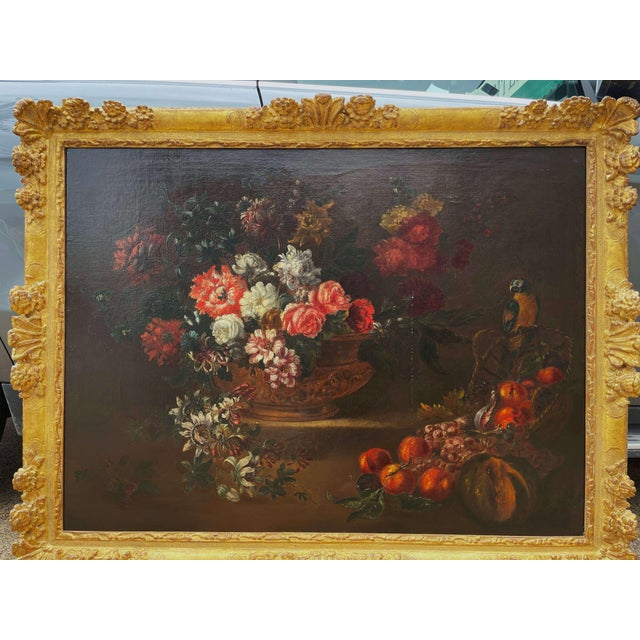 Invite color into your home with this important antique still life oil on canvas painting. Painted in France circa 1870...