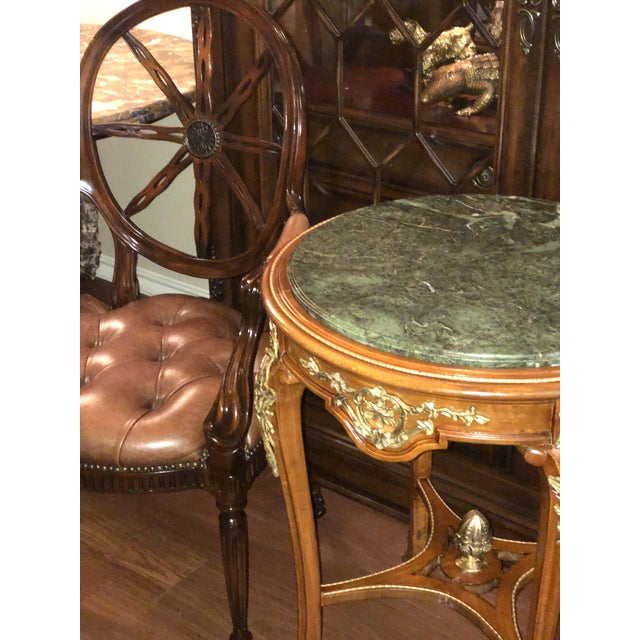 Green French Ormolu Mounted Side Marble Tables - a Pair For Sale - Image 8 of 13