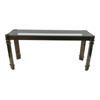 1970s Mid-Century Modern Mastercraft Brass Console Table For Sale
