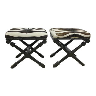 Faux Zebra Stools - A Pair For Sale