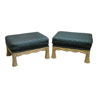 Lane Venture Pair of Twisted Rattan Ottomans For Sale