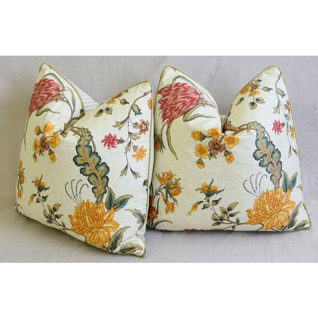"Schumacher Arbre Fleuri Floral & Ticking Feather/Down Pillows 20"" Square - Pair For Sale - Image 9 of 13"