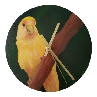 "Hand Painted 9"" Round Wood Yellow Parrot Wall Clock"