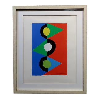 """Sonia Delaunay """"Triangles Colorés"""" Signed Lithograph, 1959 For Sale"""