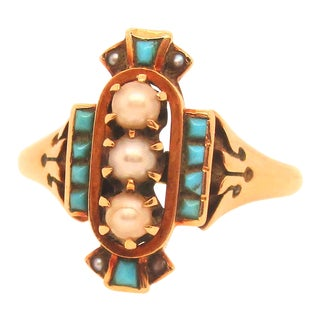 Victorian Gold With Turquoise and Pearls Ring For Sale