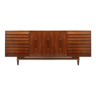 Mid Century Modern American of Martinsville Dania Collection Louvered Walnut Credenza For Sale