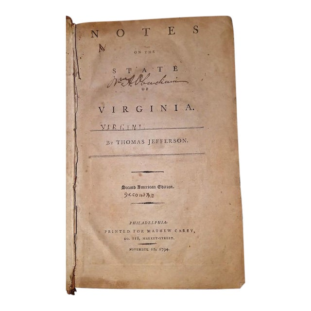PRESENTING a HUGELY IMPORTANT, HUGELY HISTORIC and EXTREMELY RARE Book. Jeffersons Notes on the State of Virginia 2nd...
