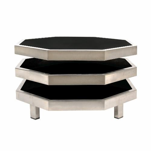 Octagonal Gunmetal and Black Swivel Side Table For Sale - Image 4 of 6