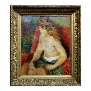 Marcel Dyf - Claudine Semi Nude -Oil Painting - French Post Impressionist