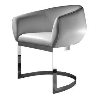 Dining Chair with Chrome Base & White Eco-Leather Upholstery by Estudihac JMFerrero For Sale