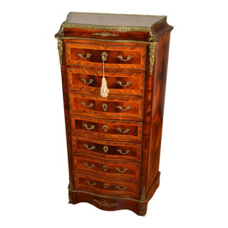 1870s Antique Napoleon III Walnut White Marble Top Lady's Desk/ Chest of Drawers For Sale