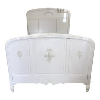 Antique Shabby French White Wood Full Size Bed For Sale