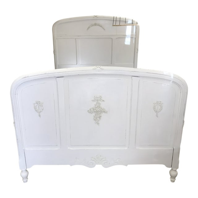Antique Shabby French White Wood Full Size Bed | Chairish