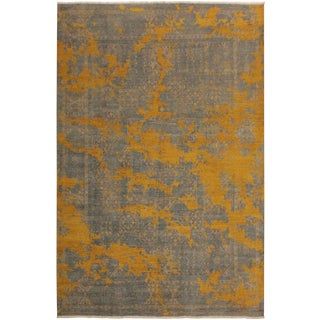Abstract Modern Morton Gray/Gold Wool Rug - 8'0 X 10'1 For Sale