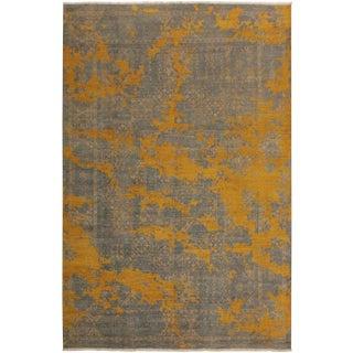 Abstract Modern Morton Gray/Gold Wool Rug - 8'0 X 10'1