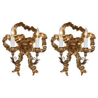 Antique Louis XVI Style Gold Bow Sconces For Sale