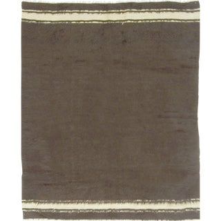 """Vintage Turkish Mohair Flat Weave Hand Woven Rug - 4'9"""" X 5'9"""" For Sale"""