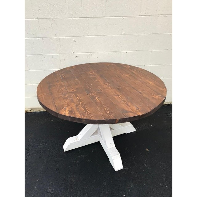 Rustic Walnut Round Farm Table For Sale - Image 4 of 6