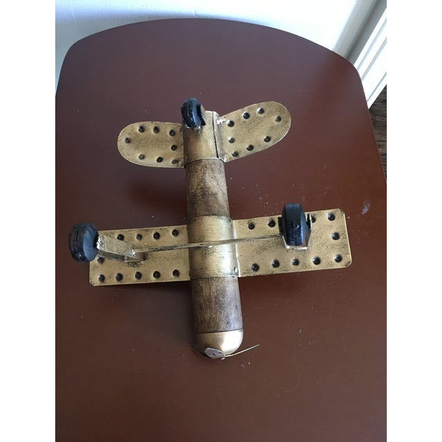 Americana Wood and Metal Airplane Figurine For Sale In Dallas - Image 6 of 8