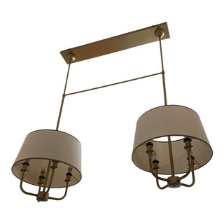 Antique Brass and Cream Shade Laura Kirar for Baker Chandelier For Sale