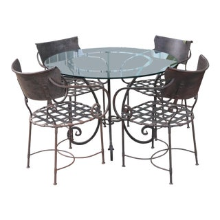 Italian Wrought Iron Dining Set For Sale