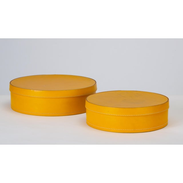 Round Leather Nesting Boxes by Arte Cuoio & Triangolo - A Pair For Sale - Image 13 of 13