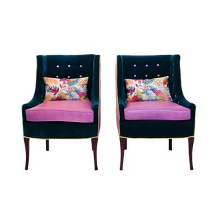 Mid Century Modern High Back Tufted Sleigh Chairs - a Pair For Sale