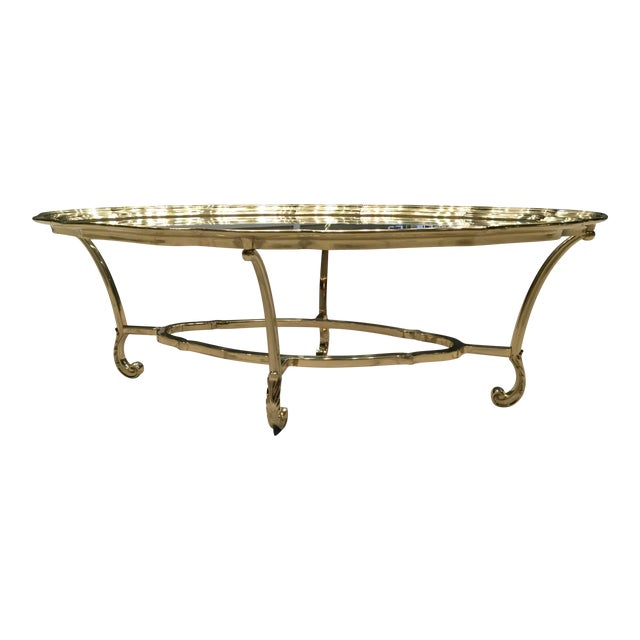 Scalloped Edge Brass and Glass Mid-Century Modern Coffee Table by Labarge For Sale