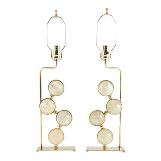 Rock Crystal and Brass Lamps - a Pair For Sale