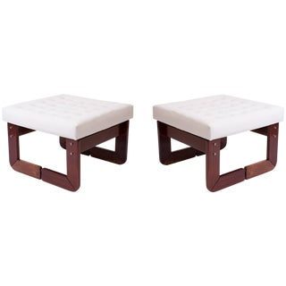 Pair of Percival Lafer Rosewood and Tufted Leather Upholstered Ottomans For Sale