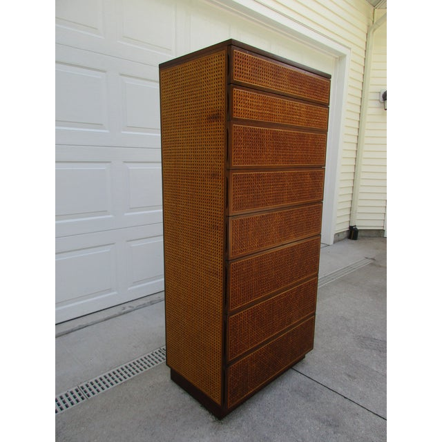 1970s Cane Front Eight Drawer Dresser by Directional For Sale - Image 5 of 12