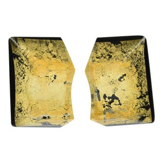 Anne and Frank Vigneri 1980s Black Lucite With Gold Inclusions Clip-On Earrings For Sale
