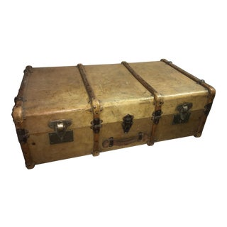Large Old English Vellum Trunk For Sale