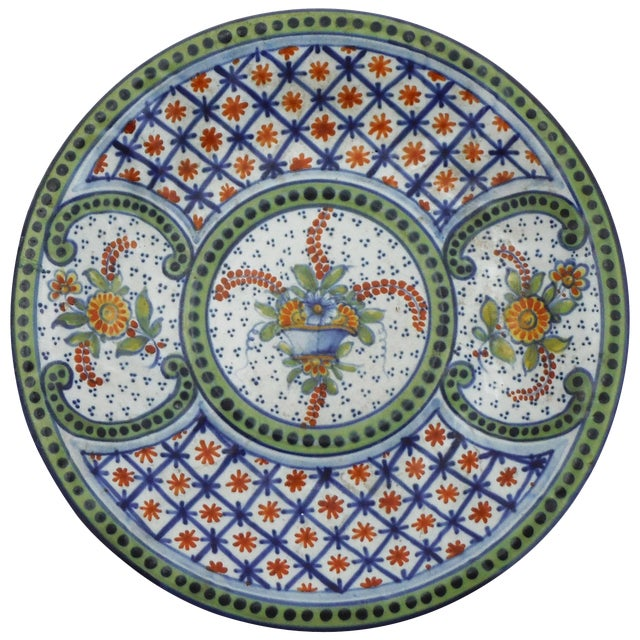 French Faience Platter Saint Clement, Circa 1900 For Sale