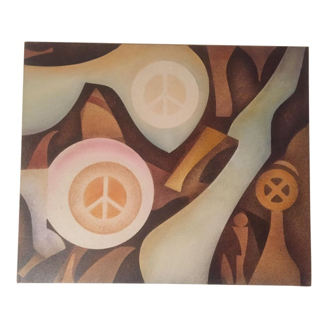 Vintage Abstract 'Peace' Painting - Image 1 of 6