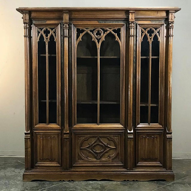 19th Century Gothic Walnut Triple Bookcase For Sale - Image 12 of 12