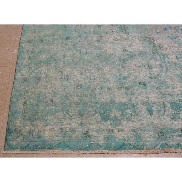 "1940s 1940s Boho Chic Persian Turoquoise Wool Kerman Rug - 9'10""x12'10"" For Sale - Image 5 of 7"