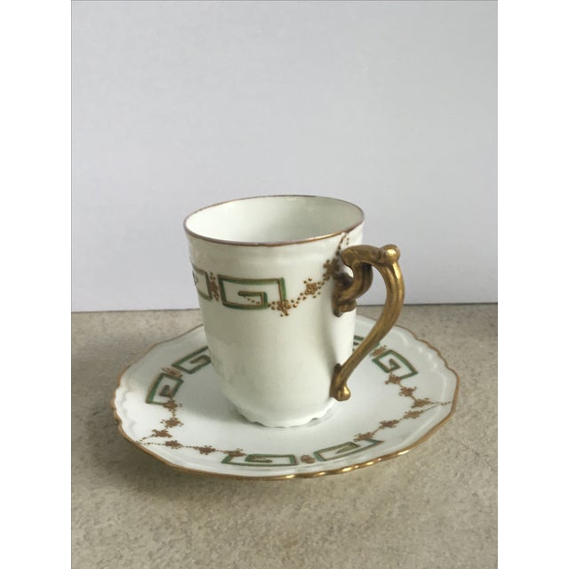 Antique Green, Gold & White Teacup & Saucer - Image 3 of 5