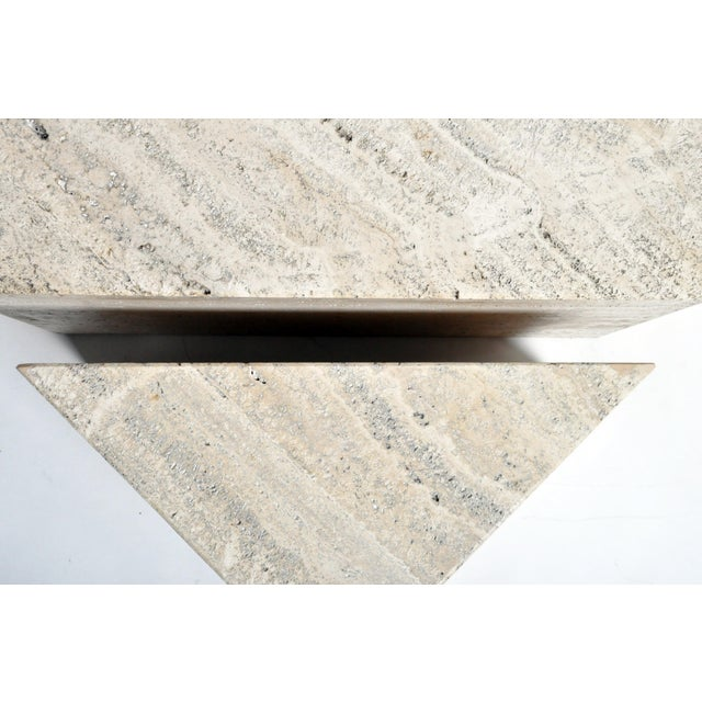 1970s Italian Travertine Marble Three-Part Polygon Coffee Table For Sale - Image 5 of 13