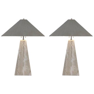 Pair of Italian Travertine and Polish Nickel Obelisk Shape Table Lamps